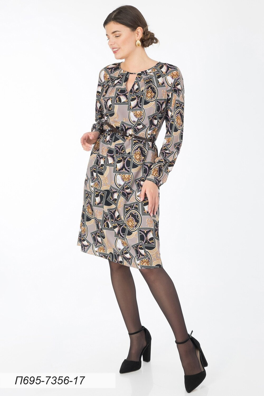 Платье 695 креп-шифон беж-черн Ампир