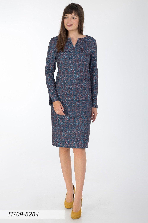 Платье 709 тр-ж изумрудно-медный Этника