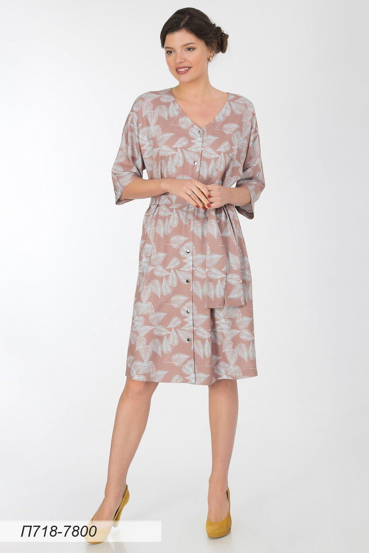 Платье 718 вискоза твил беж-мятная Листья