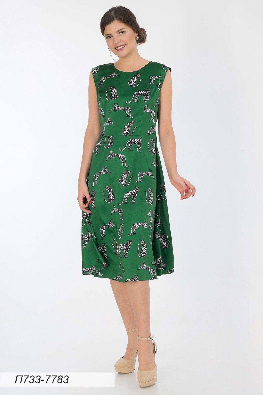 Платье 733 шелк-шифон плательный зелено-черн Ягуар