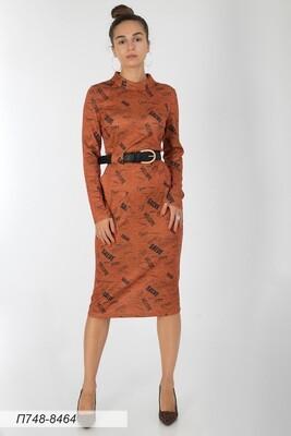 Платье 748 тр-ж Сандра оранж-черн стиль