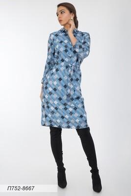 Платье 752 креп-шифон сер-голубой пэчворк