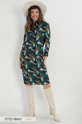 Платье 752 креп-шифон чер-изумр перышки