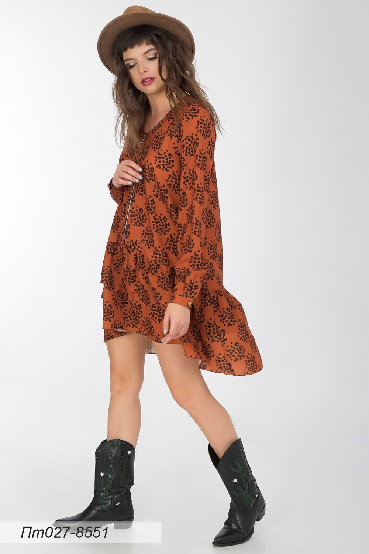 Платье-туника 027 креп -шифон терракот-черн Ирма