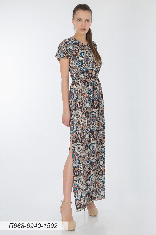 Платье 668 креп-шифон сине-коричн Узор