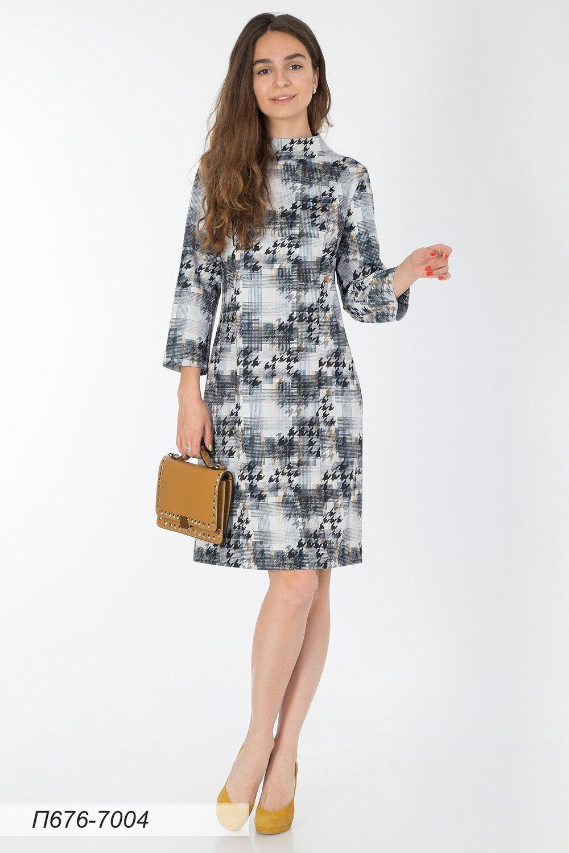 Платье 676 тр-ж черно-желтый Гленчек