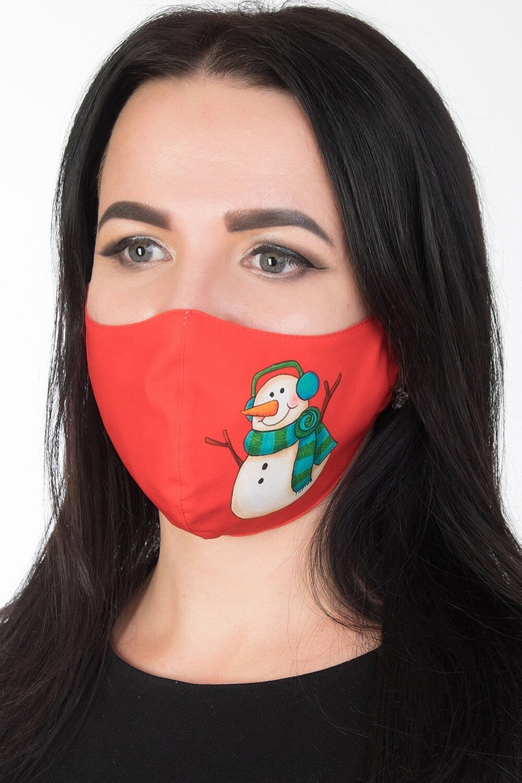 Маска 004 купон красн Снеговик