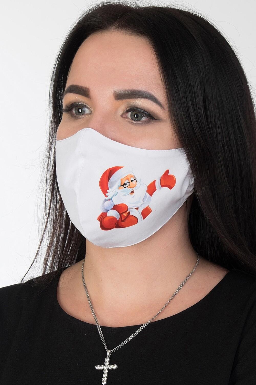 Маска 004 купон бел-красн Дед Мороз