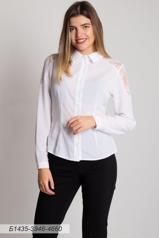 Блузка 1435 креп-шифон молочный/ кружево белое Цветы