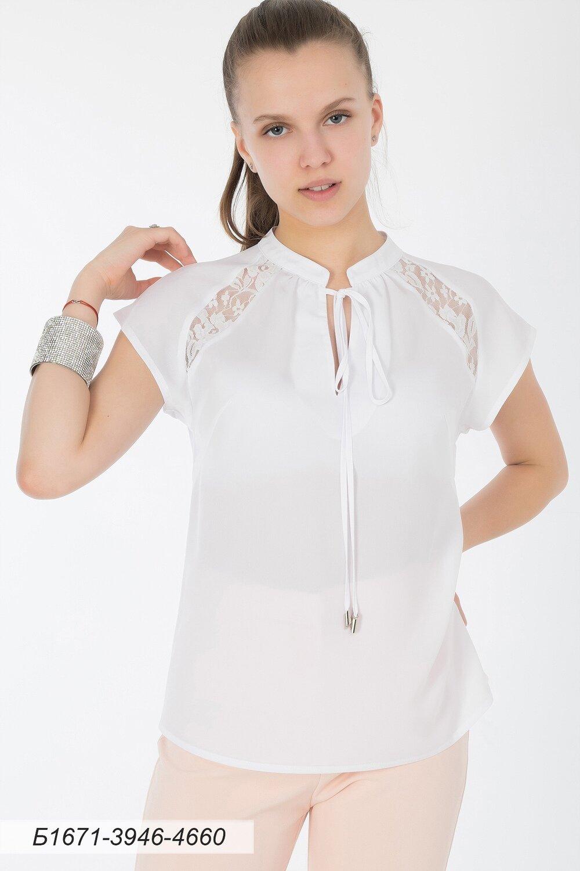 Блузка 1671 креп-шифон молочный/ кружево белое цветы
