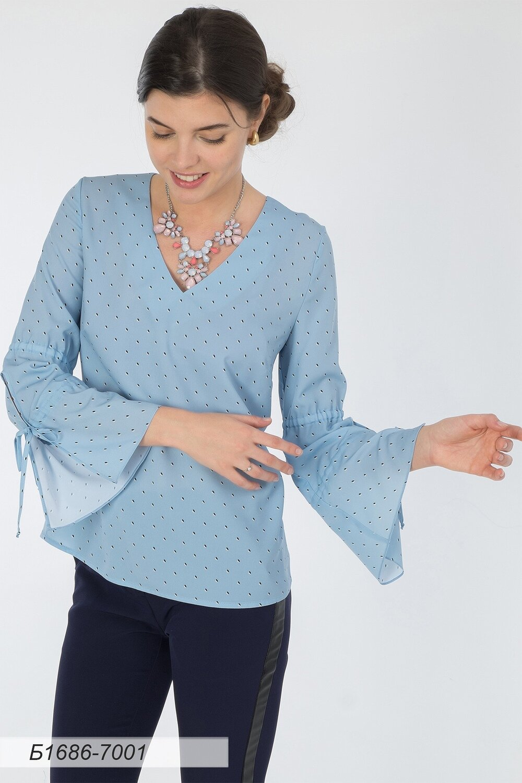 Блузка 1686 креп-шифон голубой Натали