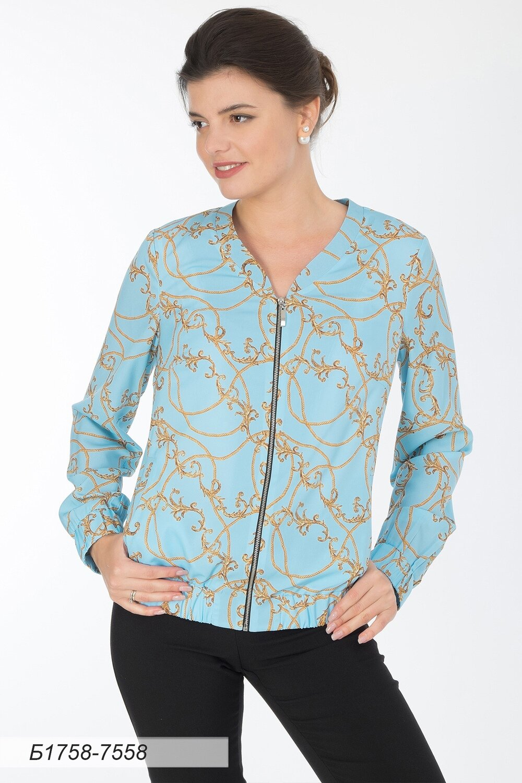 Блузка 1758 креп-шифон золотисто-голубой Версаль