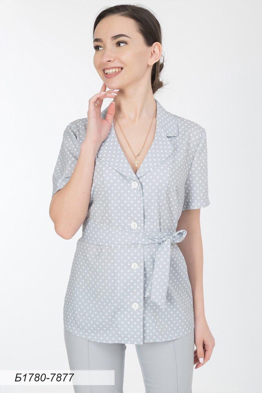 Блузка 1780 лен-стрейч серо-бел Горошек