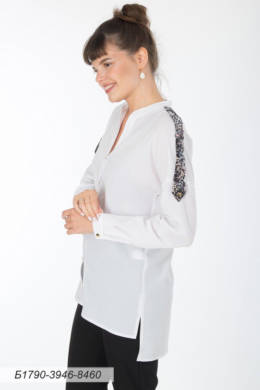 Блузка 1790 креп-шифон молочн/ креп-шифон беж леопард