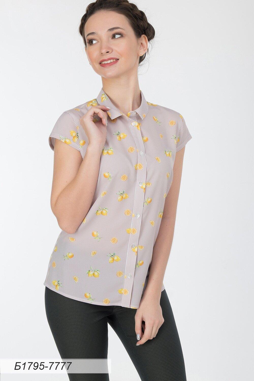 Блузка 1795 креп-шифон беж полоска Лимон