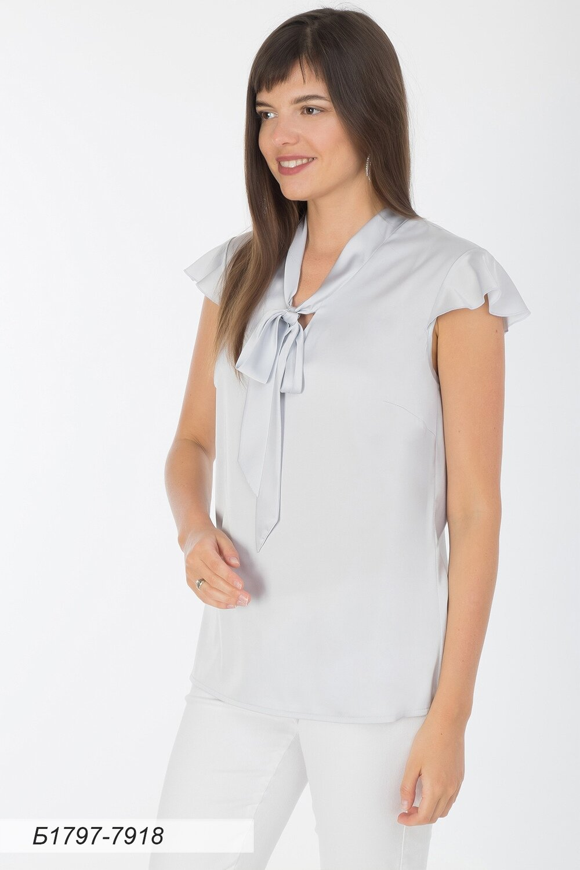 Блузка 1797 шелк-шифон Армани светло-серый
