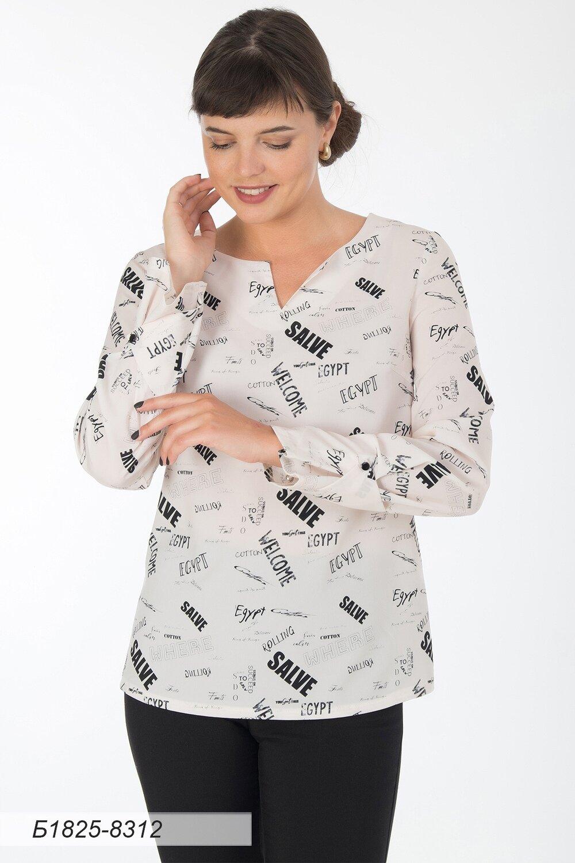 Блузка 1825 креп-шифон молочно-черн Стиль