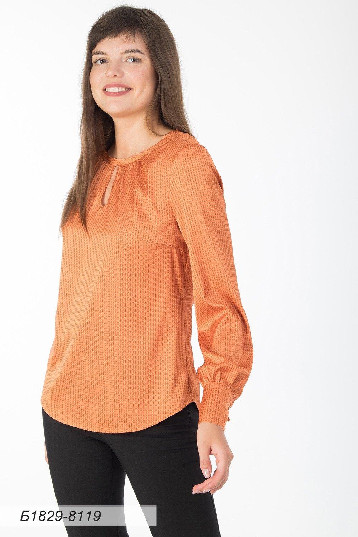 Блузка 1829 шелк-шифон Армани оранж-коричн ромбики