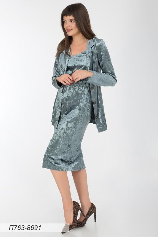 Платье 763 велюр серо-зеленый