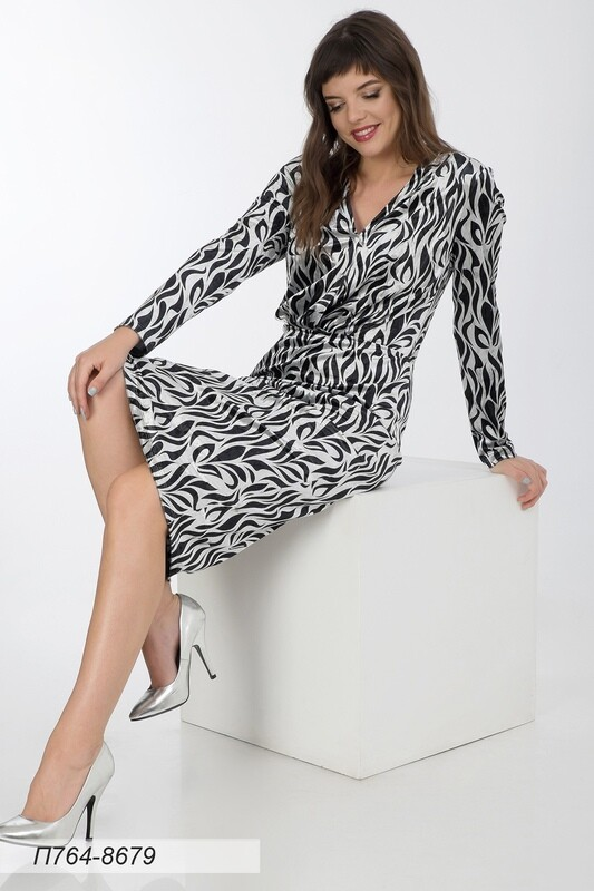 Платье 764 велюр серебристо-чер Сильвия