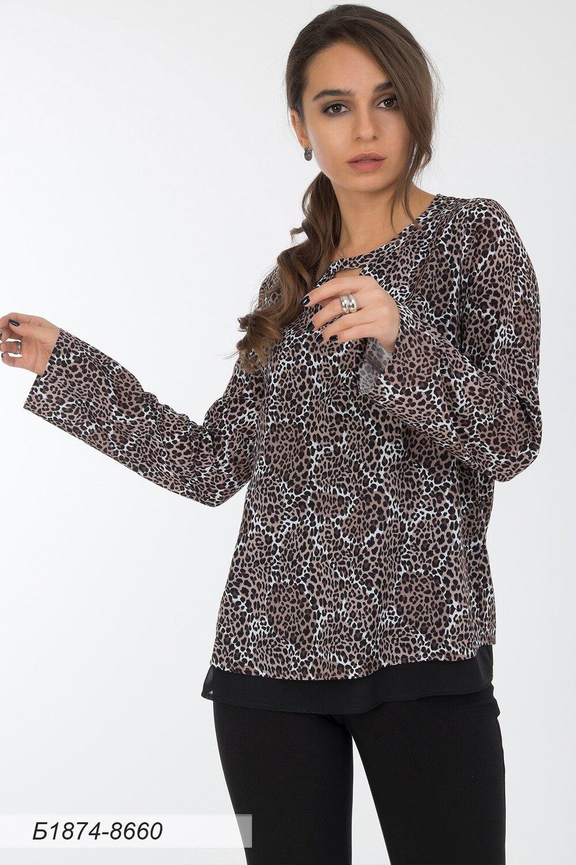 Блузка 1874 креп-шифон беж-корич леопард