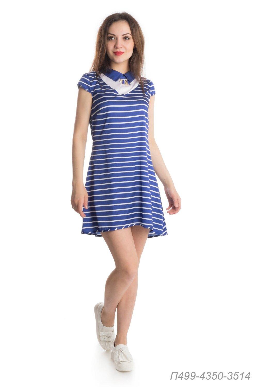 Платье 499 шелк-шифон сине-белый Полоска/ шелк-шиф белый