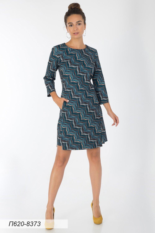 Платье 620 тр-ж бирюз-коричн Нелли