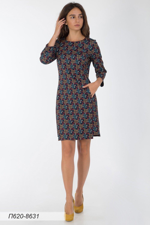 Платье 620 тр-ж елочка сине-красн Бостон