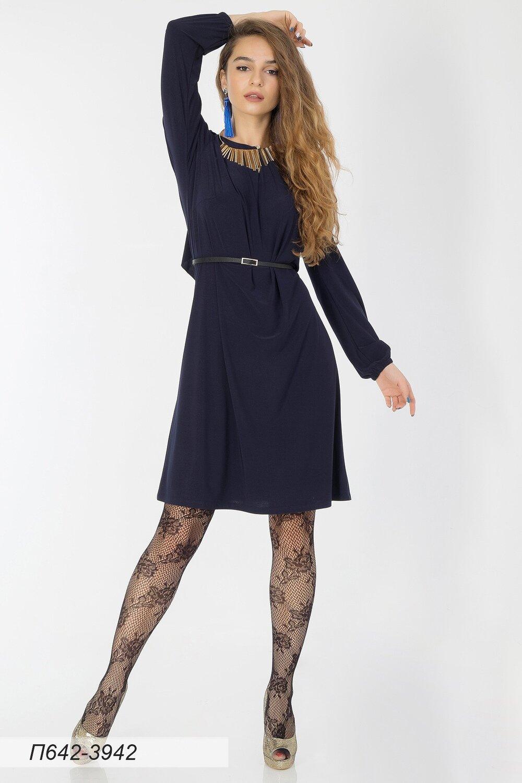 Платье 642 вискоза стрейч темно-синяя