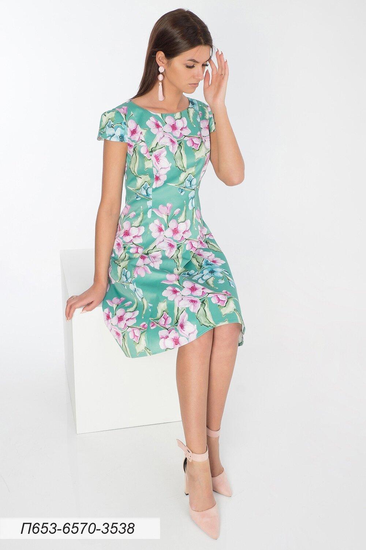 Платье 653 хлопок-сатин салатово-розов Есения