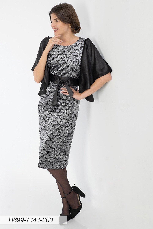 Платье 699 велюр серо-черн Кружево