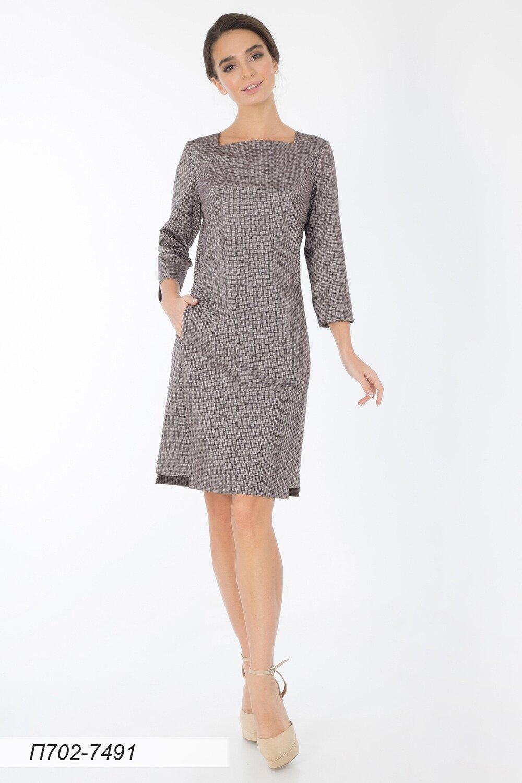 Платье 702 тр-ж беж-кофейный Ксения