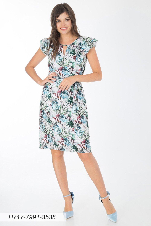 Платье 717 креп-шифон зелено-сер Джунгли