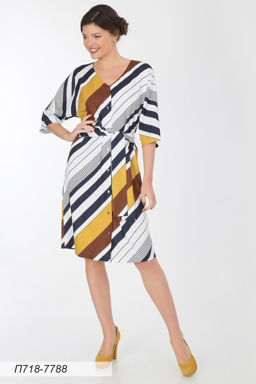 Платье 718 вискоза твил горчич-коричн Диагональ