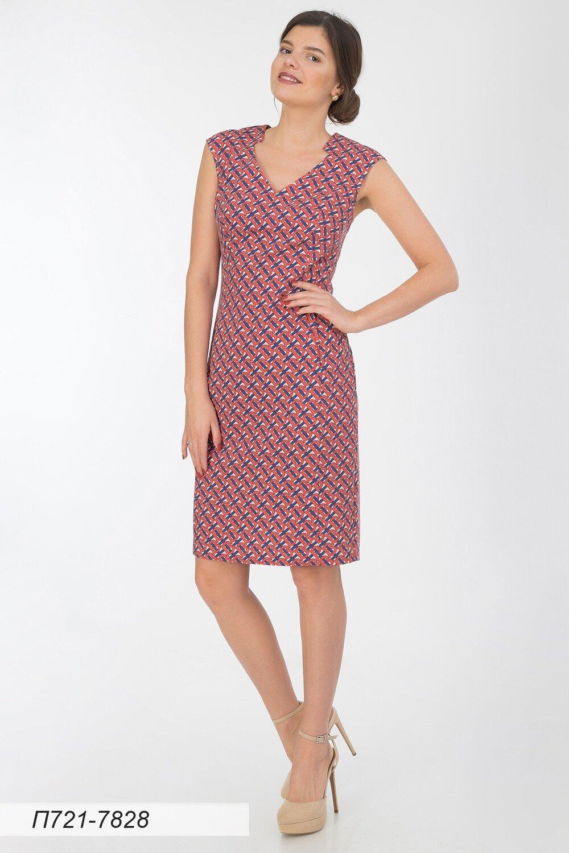 Платье 721 вискоза сине-красн Бренд