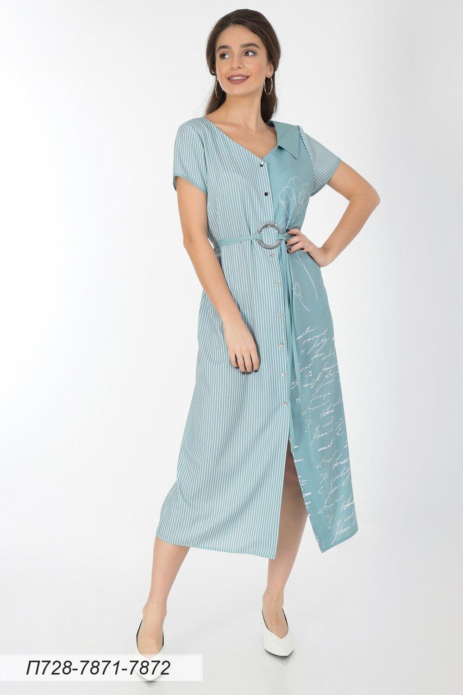 Платье 728 лен-стрейч мятно-бел Прованс