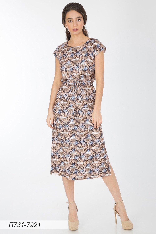 Платье 731 вискоза твил беж-син Джунгли