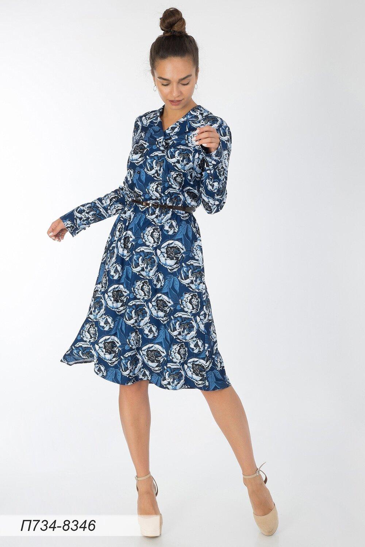 Платье 734 вискоза твил сине-голубая Пионы