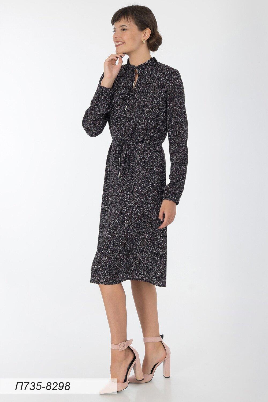 Платье 735 креп-шифон черно-фиолет крап