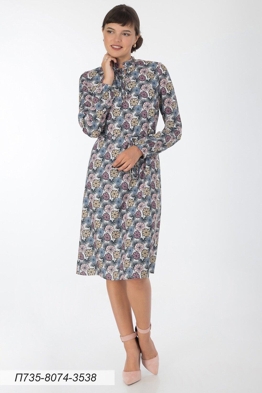 Платье 735 креп-шифон молочно-лилов Вьюнок