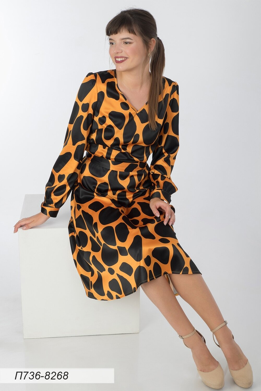 Платье 736 шелк-шифон плательн оранж-черн Техас