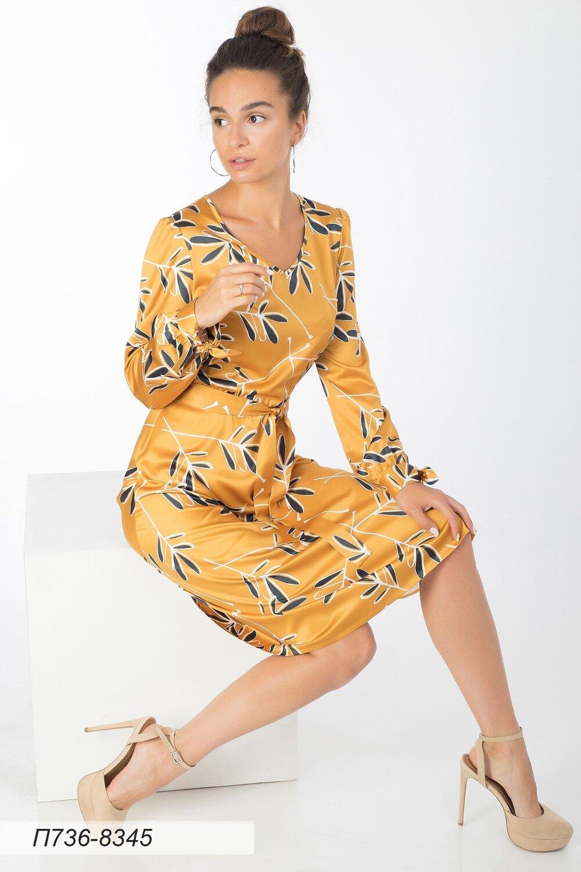 Платье 736 шелк-шифон плательн горчично-син Оливия