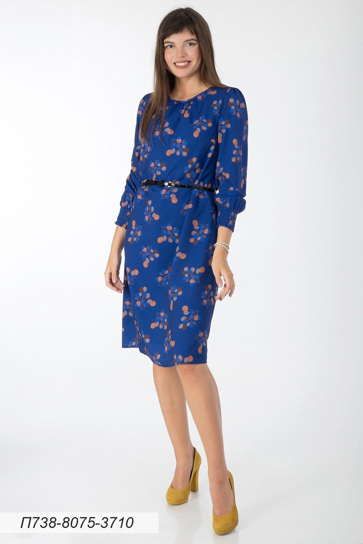 Платье 738 креп-шифон ультрамариново-рыжий веточки