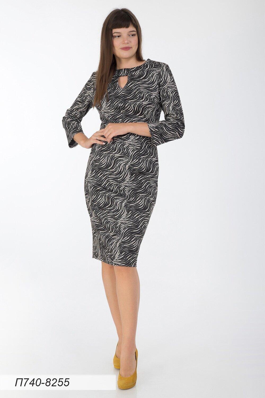 Платье 740 тр-ж черно-беж Сюита