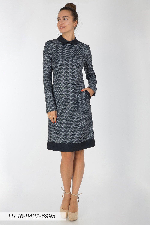 Платье 746 тр-ж черно-белый Луиза/ тр-ж черный