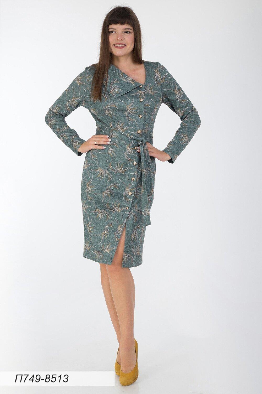 Платье 749 тр-ж Сандра зел-горчичн веточки