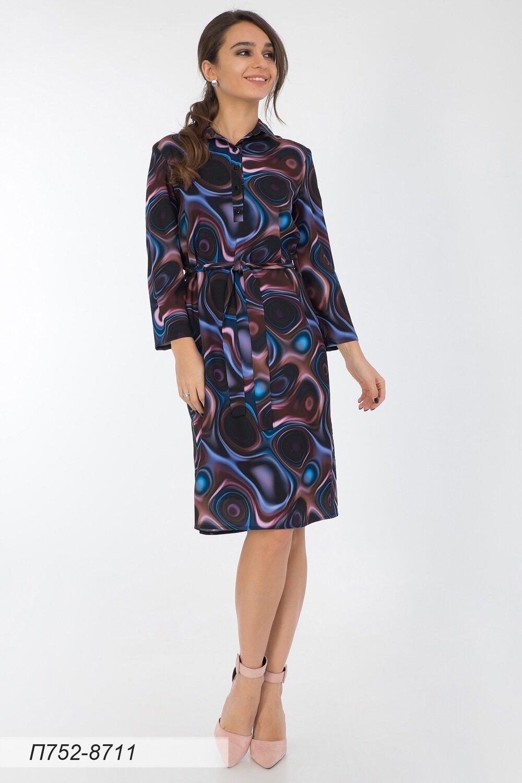 Платье 752 креп-шифон сине-лиловый иллюзион