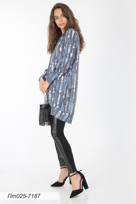 Платье-туника 025 тр-ж Верона серо-голубой Спектр