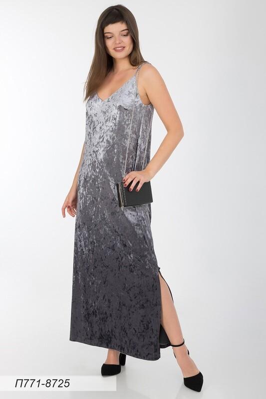 Платье 771 велюр коричн-серый градиент