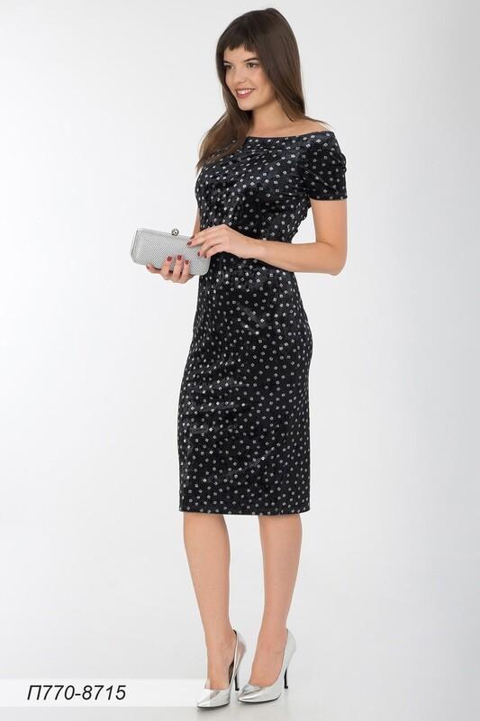 Платье 770 велюр чер-сереб квадратики
